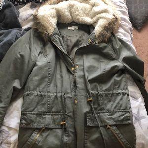 Fuzzy hood jacket